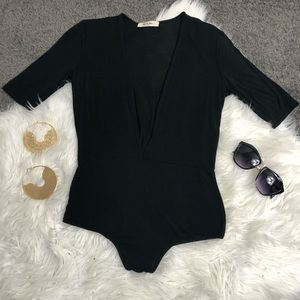 Black Low-Cut Bodysuit